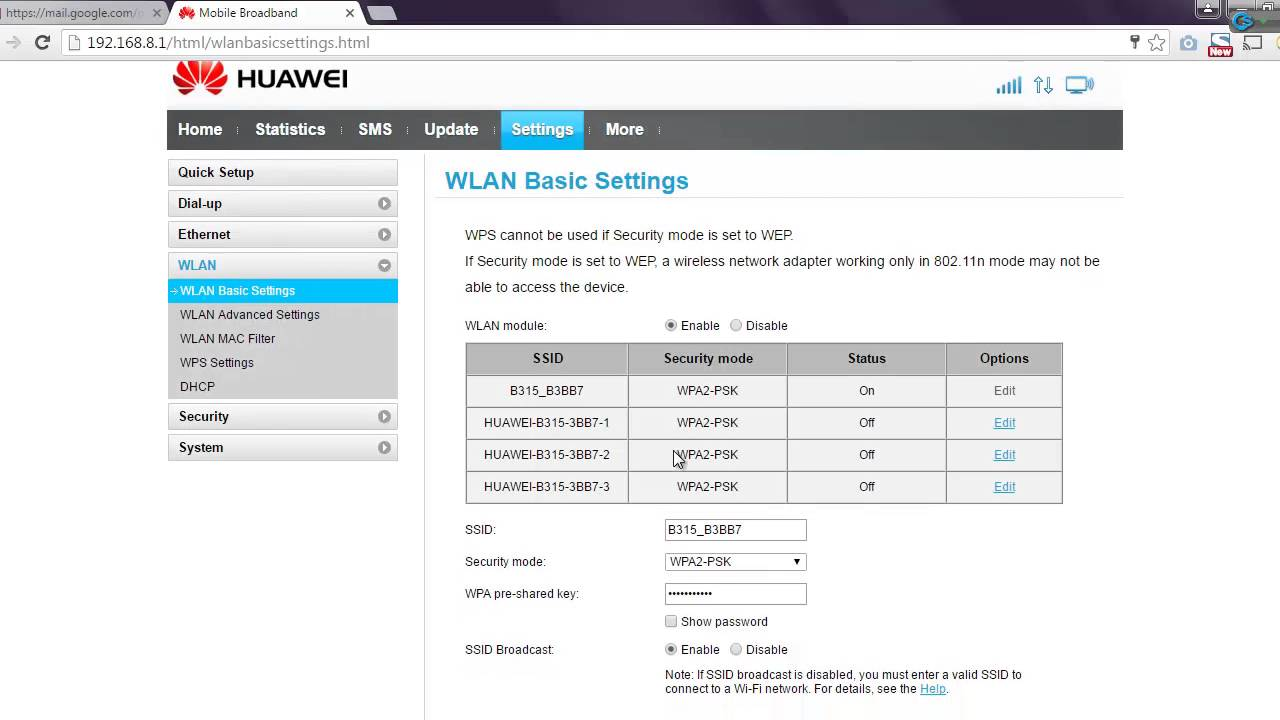 device management on huawei b315s-936 firmware